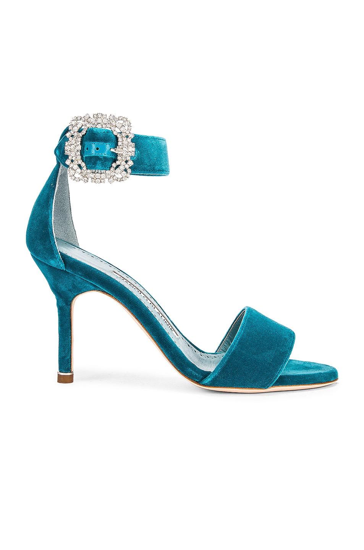 Image 1 of Manolo Blahnik Sanghal 90 Velvet Sandal in Turquoise
