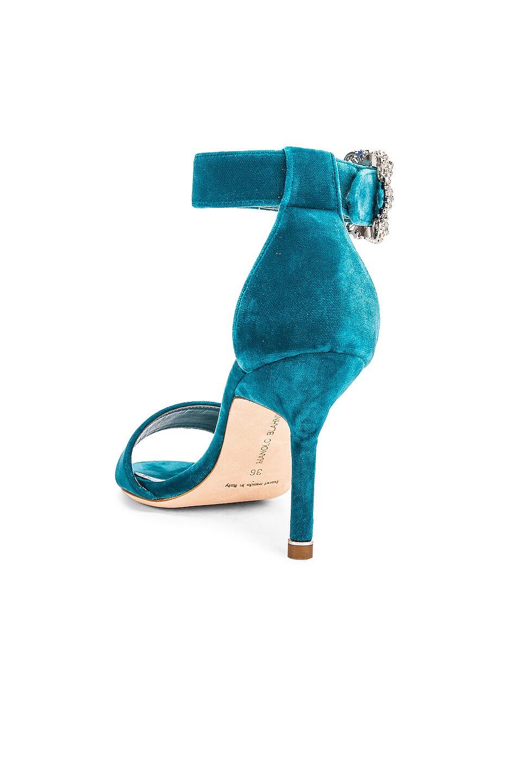 Image 3 of Manolo Blahnik Sanghal 90 Velvet Sandal in Turquoise