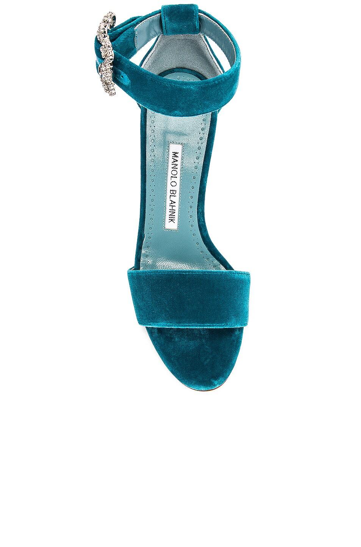 Image 4 of Manolo Blahnik Sanghal 90 Velvet Sandal in Turquoise