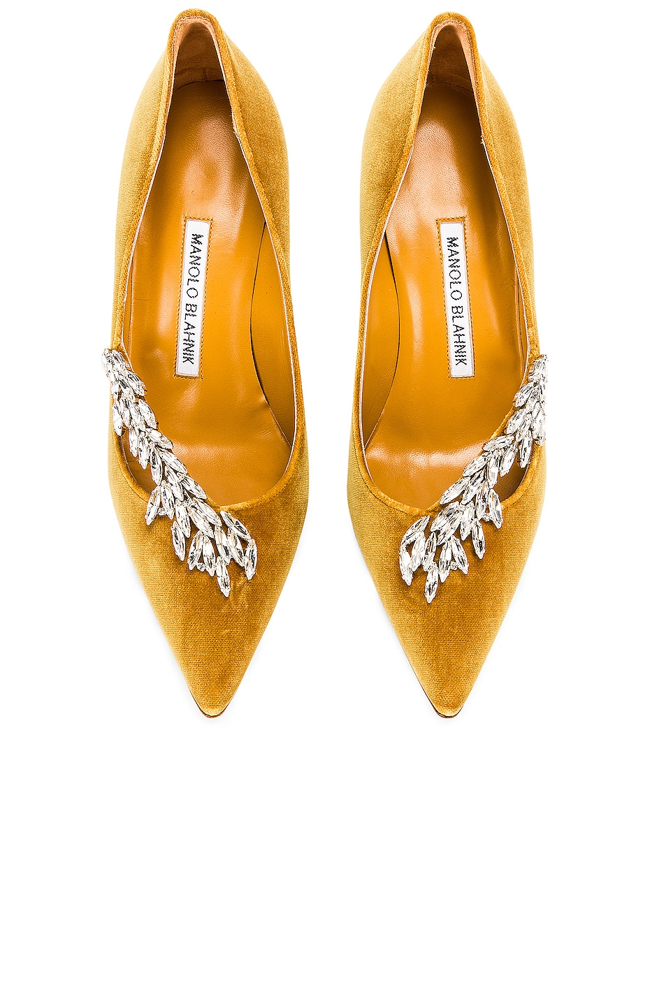 Image 1 of Manolo Blahnik Nadira 90 Velvet Heel in Yellow