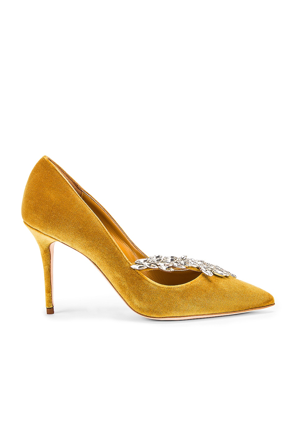 Image 2 of Manolo Blahnik Nadira 90 Velvet Heel in Yellow