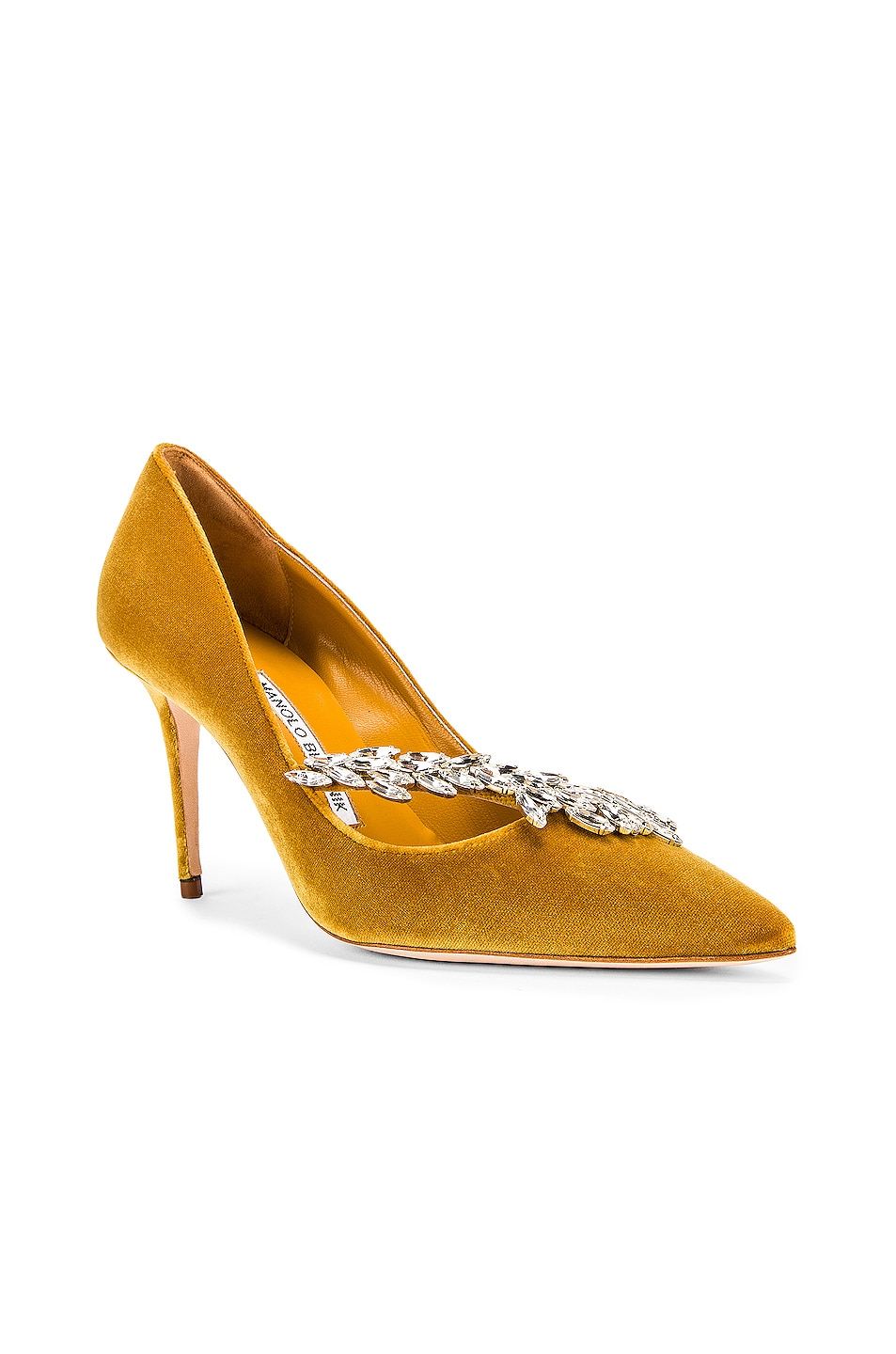 Image 3 of Manolo Blahnik Nadira 90 Velvet Heel in Yellow