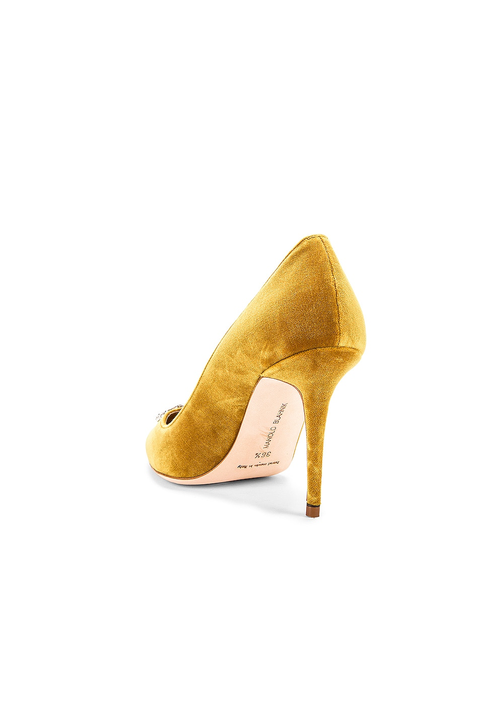 Image 4 of Manolo Blahnik Nadira 90 Velvet Heel in Yellow