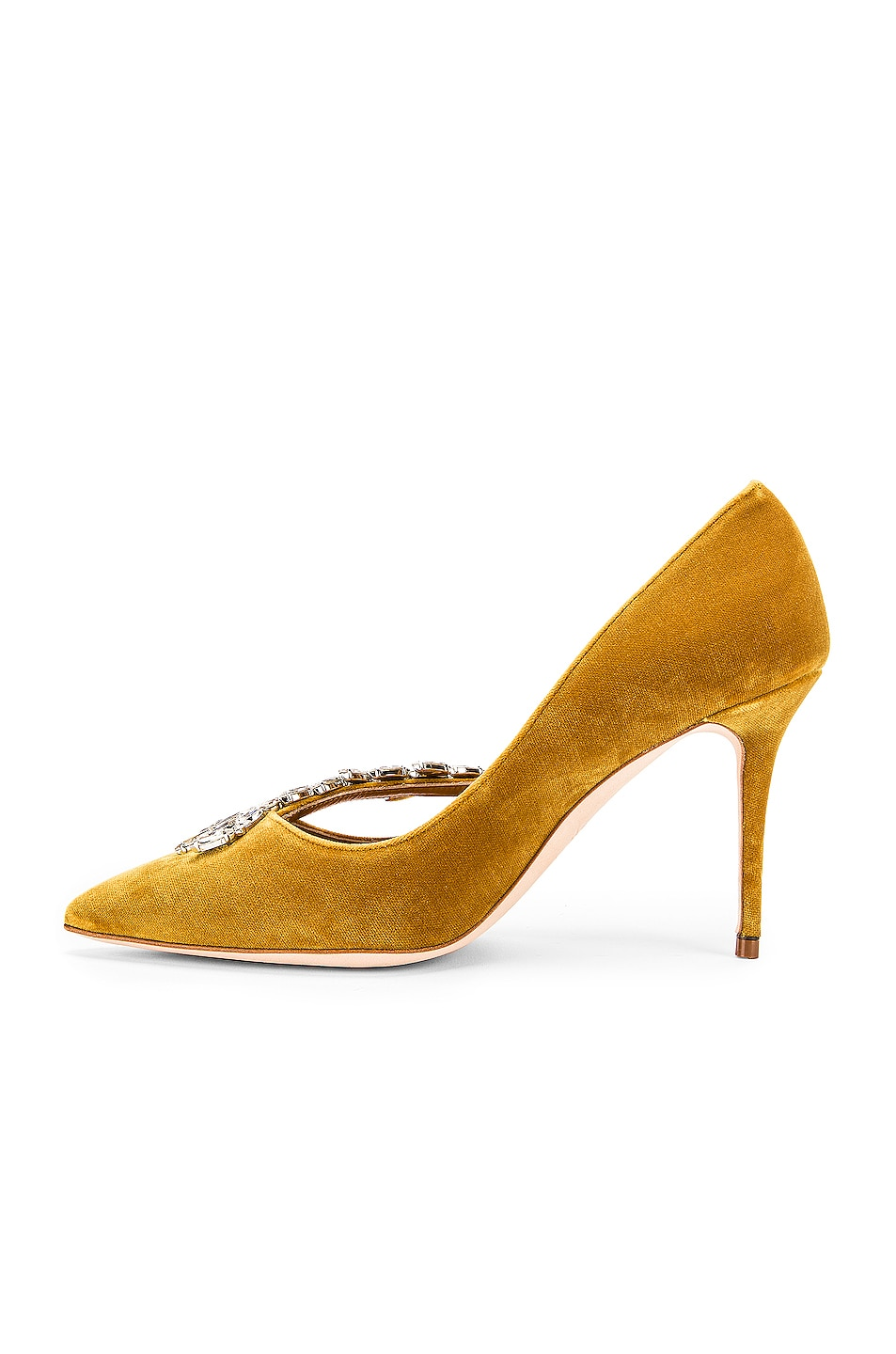 Image 5 of Manolo Blahnik Nadira 90 Velvet Heel in Yellow