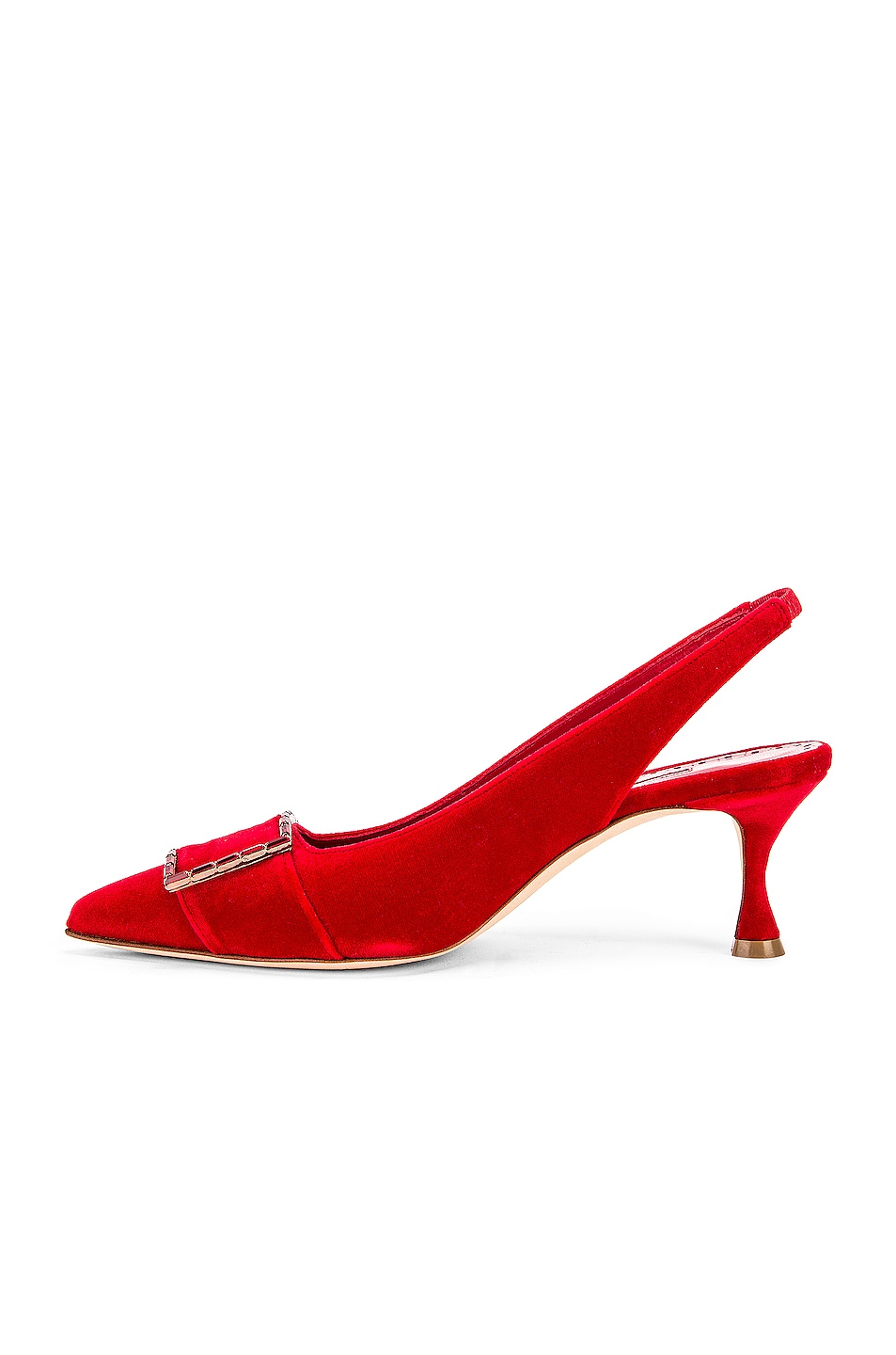 d9dad389798 Manolo Blahnik Dolores 50 Velvet Heel in Dark Red | FWRD