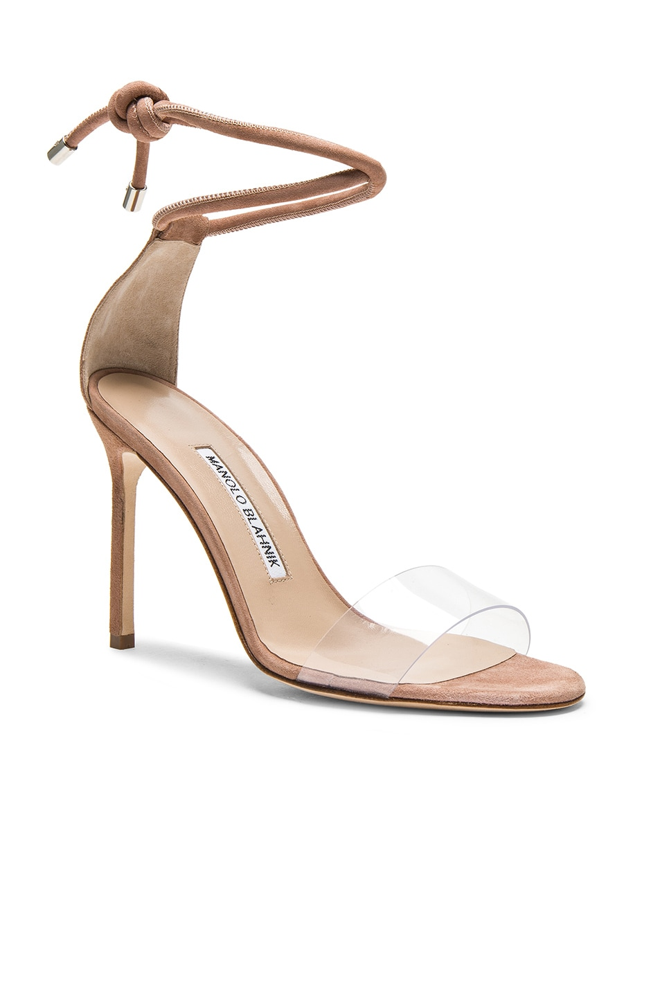Image 2 of Manolo Blahnik 105 Suede Estro Sandals in Rose Nude Suede
