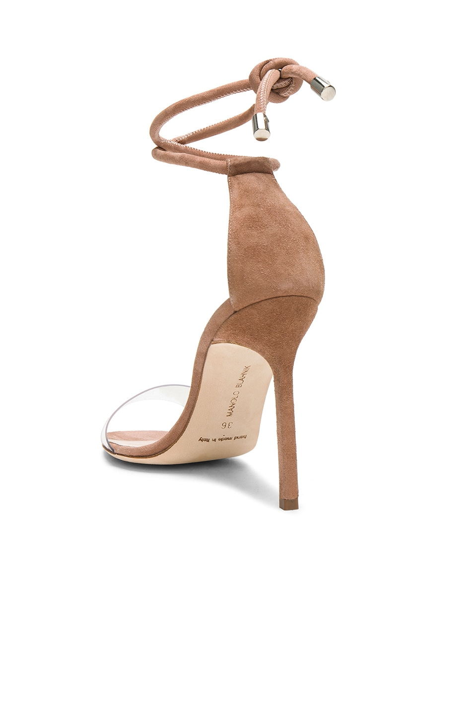 Image 3 of Manolo Blahnik 105 Suede Estro Sandals in Rose Nude Suede