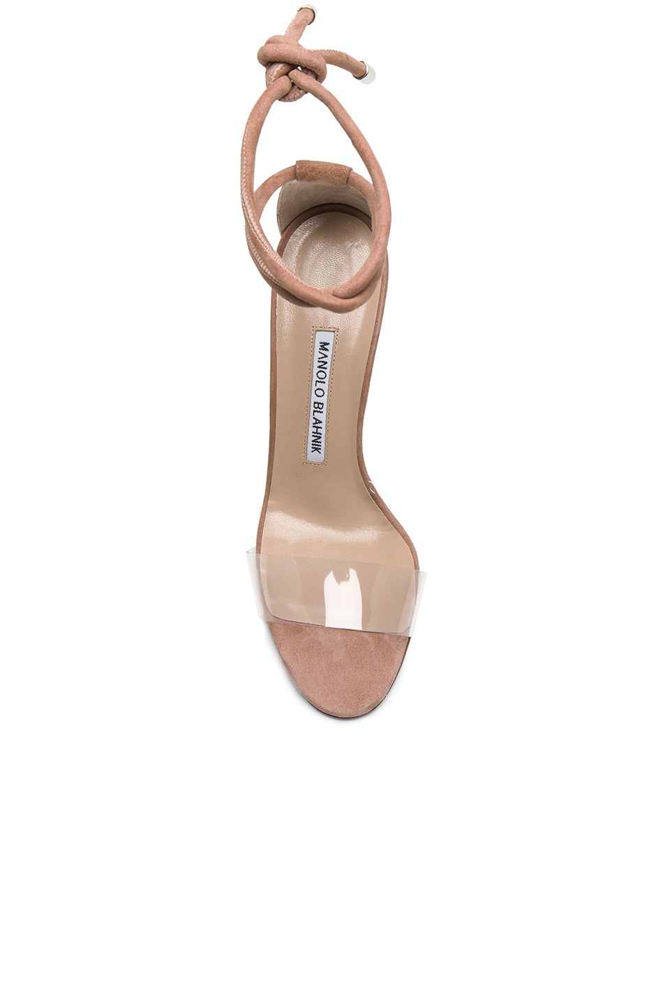 Image 4 of Manolo Blahnik 105 Suede Estro Sandals in Rose Nude Suede