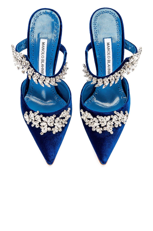 Image 1 of Manolo Blahnik Lurum 105 Velvet Heel in Blue