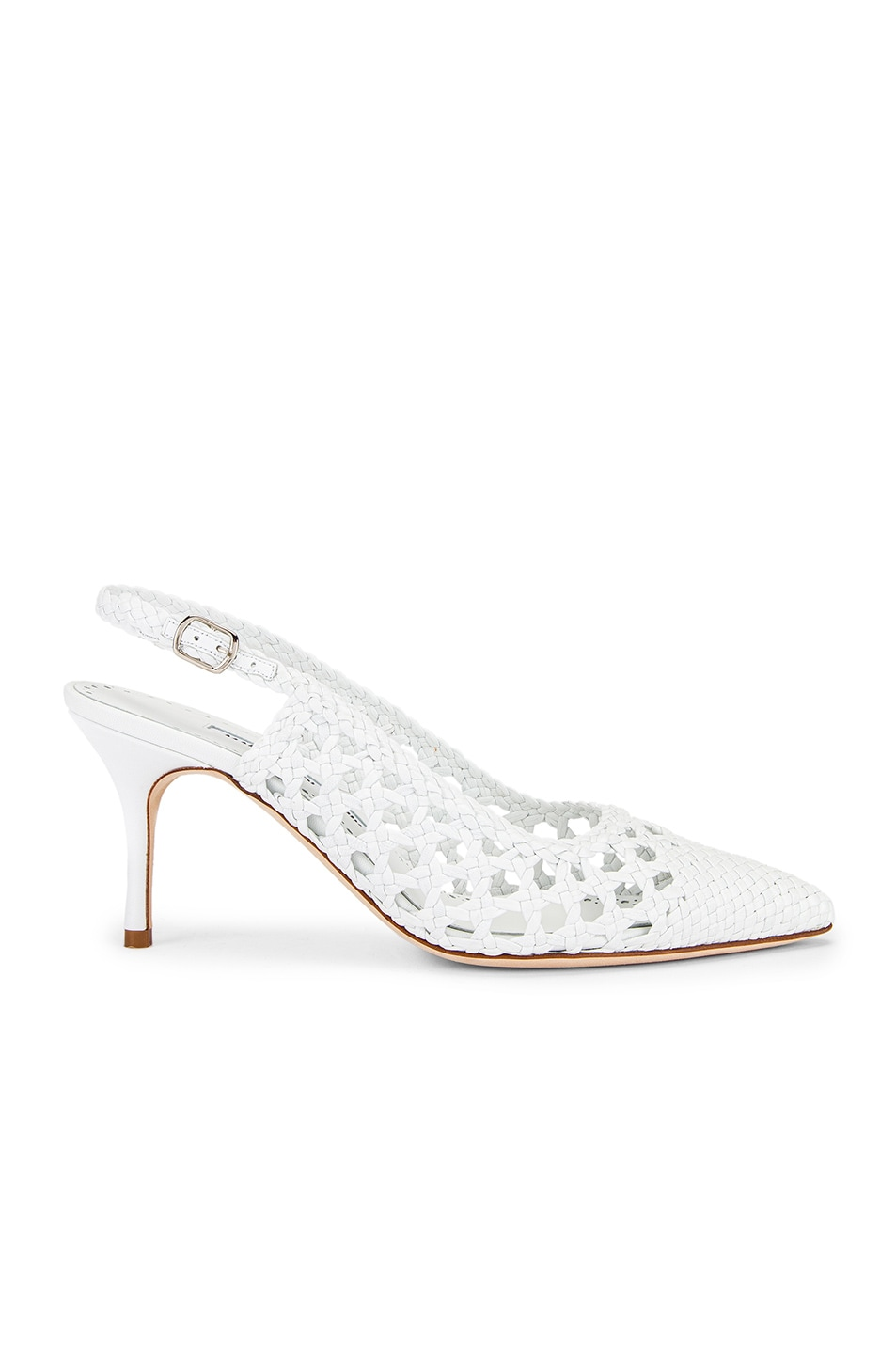 Image 1 of Manolo Blahnik Basket Weave Slingblack in White
