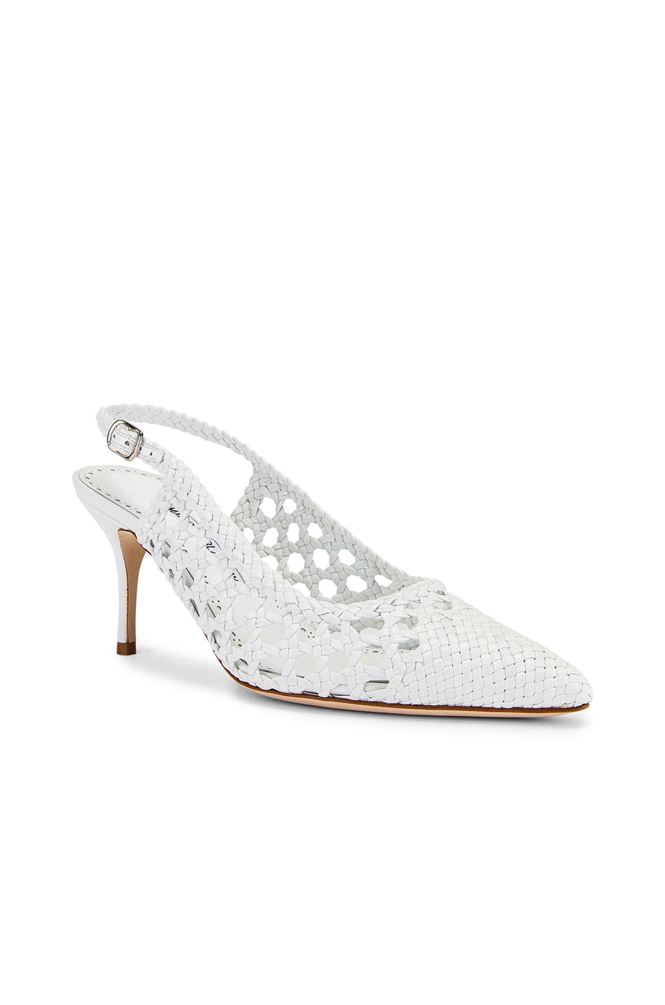 Image 2 of Manolo Blahnik Basket Weave Slingblack in White
