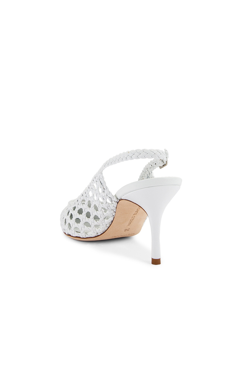Image 3 of Manolo Blahnik Basket Weave Slingblack in White