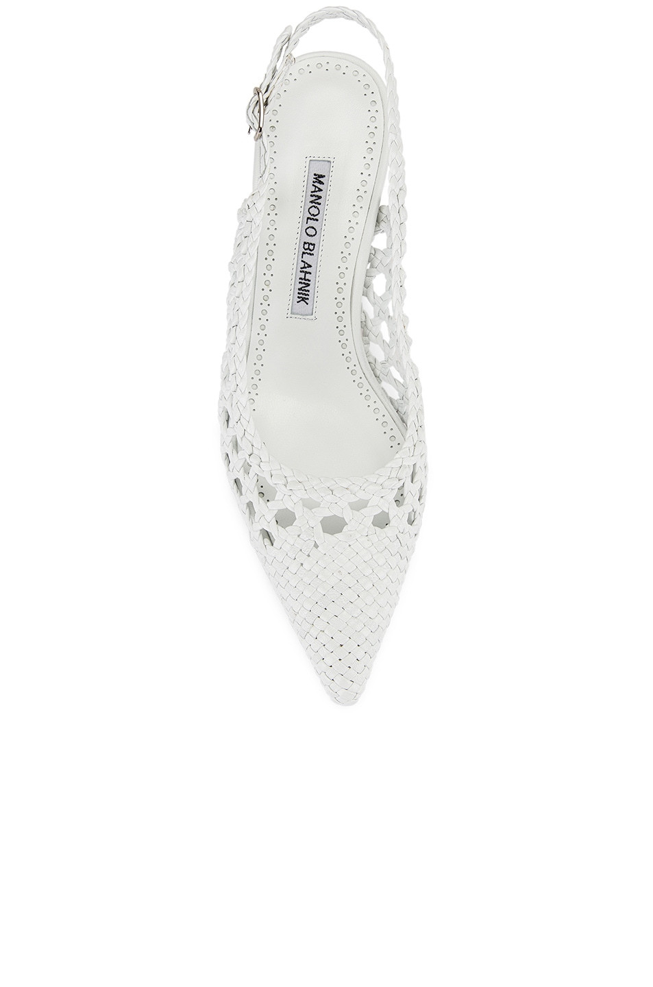 Image 4 of Manolo Blahnik Basket Weave Slingblack in White