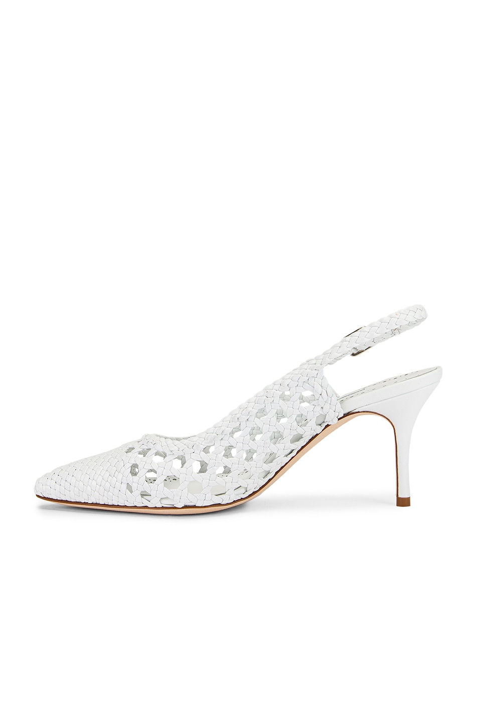 Image 5 of Manolo Blahnik Basket Weave Slingblack in White