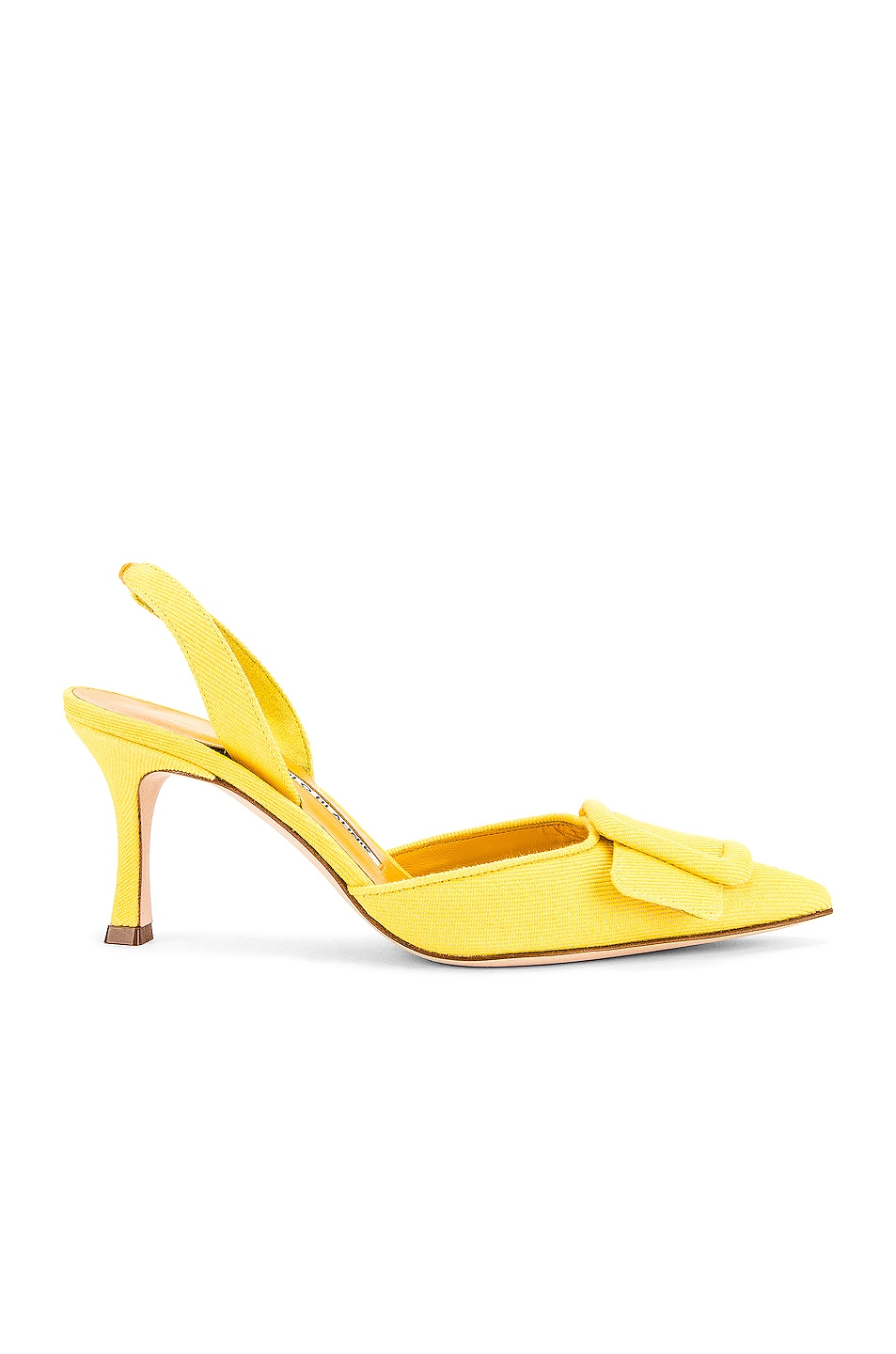 Image 1 of Manolo Blahnik Maysli 70 Slingback in Yellow Denim