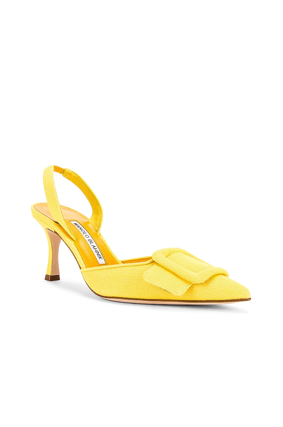 Image 2 of Manolo Blahnik Maysli 70 Slingback in Yellow Denim