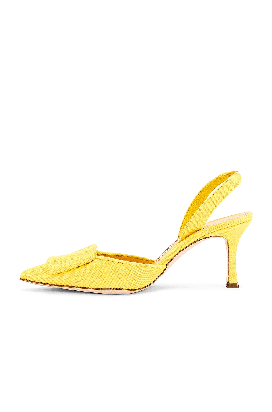 Image 5 of Manolo Blahnik Maysli 70 Slingback in Yellow Denim