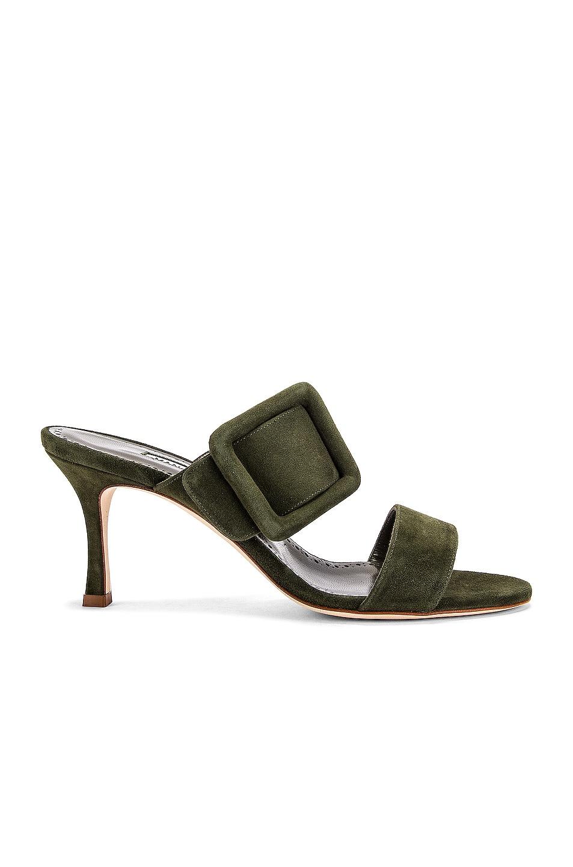 Image 1 of Manolo Blahnik Gable 70 Suede Sandal in Military Green