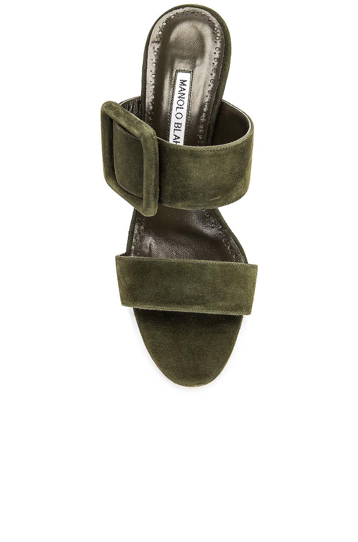 Image 4 of Manolo Blahnik Gable 70 Suede Sandal in Military Green