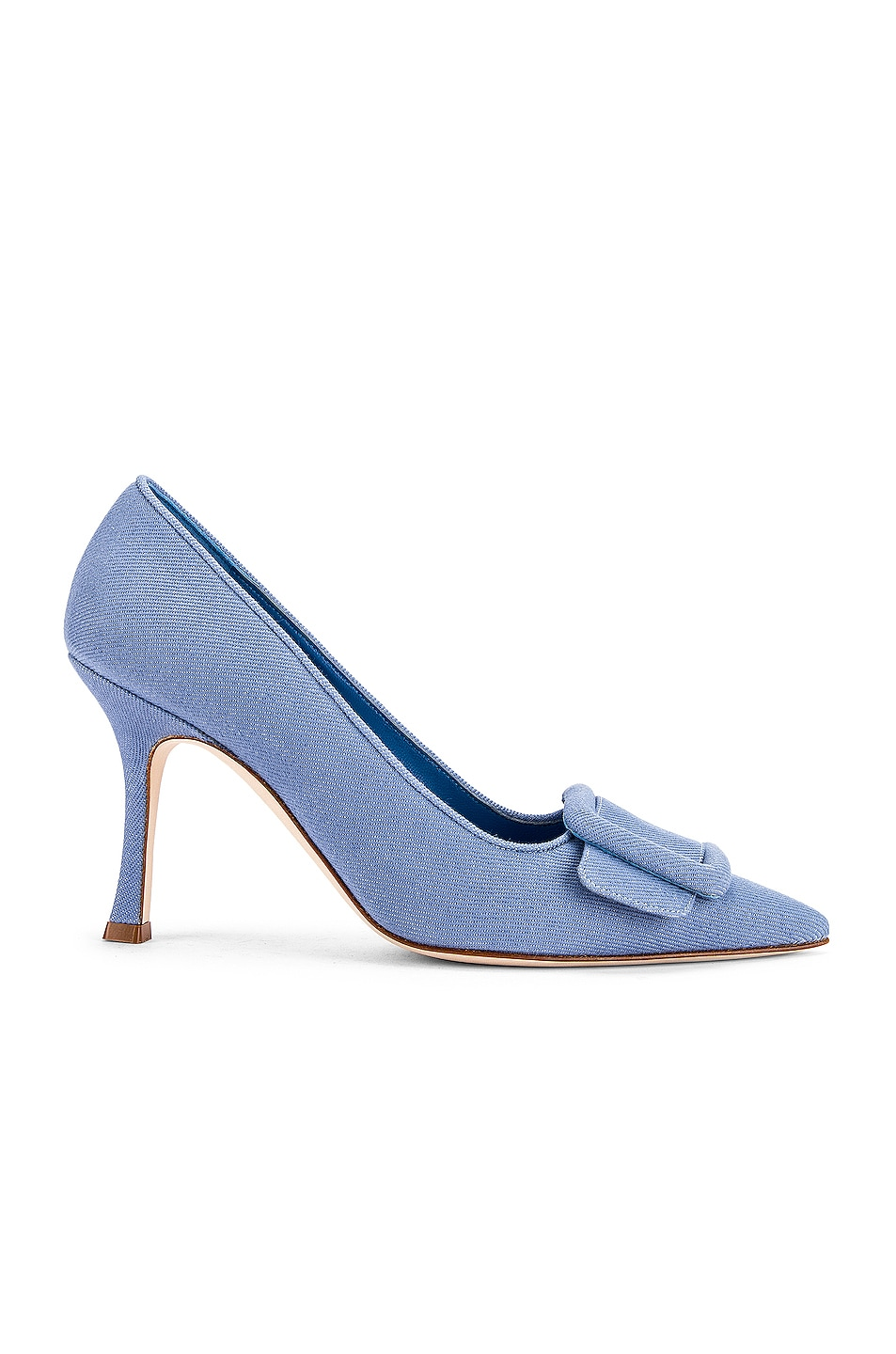 Image 1 of Manolo Blahnik Maysale 90 Pump in Light Blue Jean