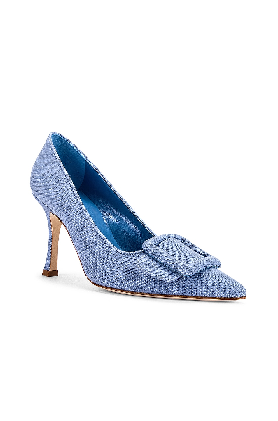Image 2 of Manolo Blahnik Maysale 90 Pump in Light Blue Jean