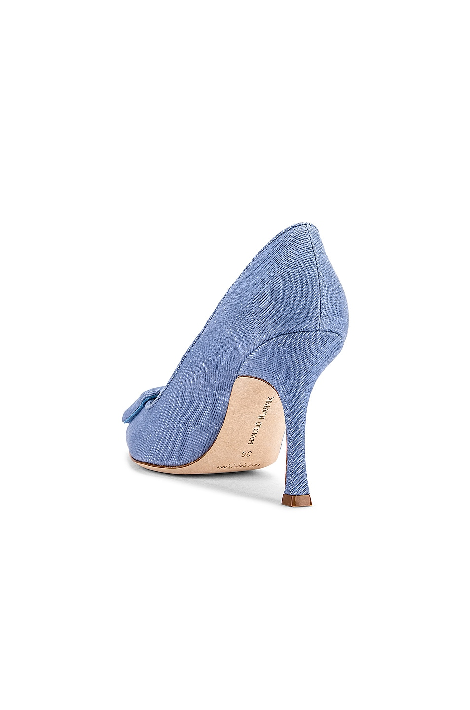 Image 3 of Manolo Blahnik Maysale 90 Pump in Light Blue Jean