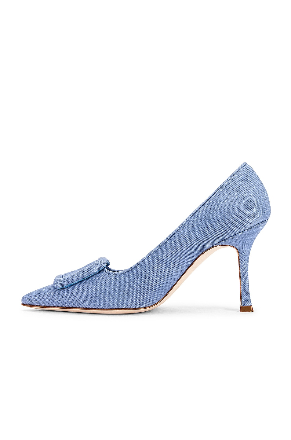 Image 5 of Manolo Blahnik Maysale 90 Pump in Light Blue Jean