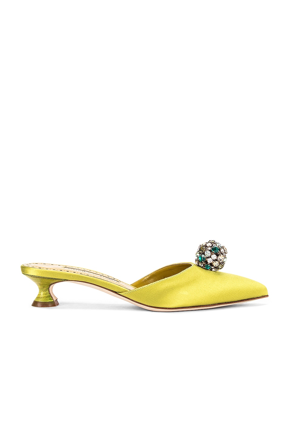 Image 1 of Manolo Blahnik Kavafi 30 Satin Mule in Lime Green