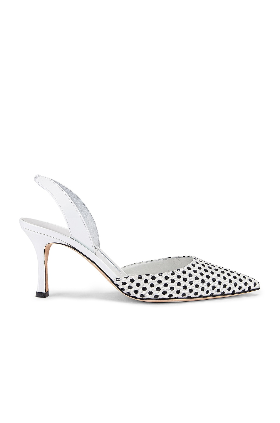 Image 1 of Manolo Blahnik Carolyne 70 Slingback in Black & White