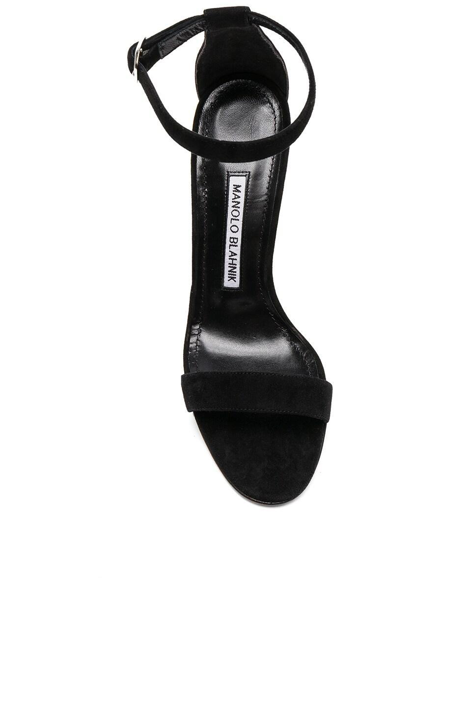 Image 4 of Manolo Blahnik Suede Chaos 105 Heels in Black Suede