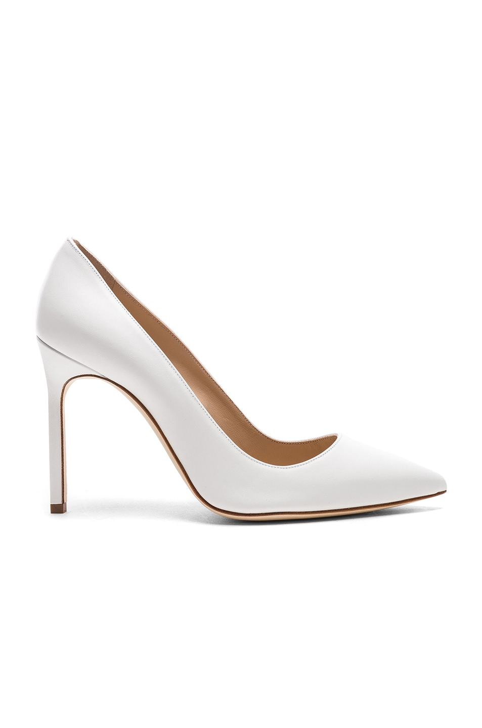 Image 1 of Manolo Blahnik Leather BB 105 Heels in White Leather