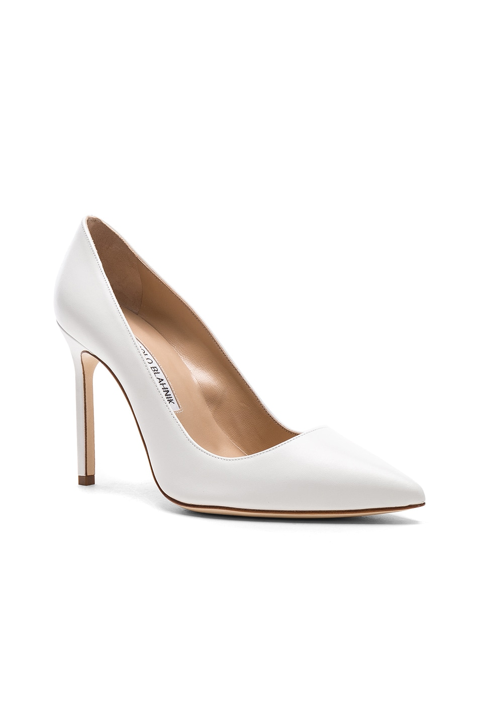 Image 2 of Manolo Blahnik Leather BB 105 Heels in White Leather