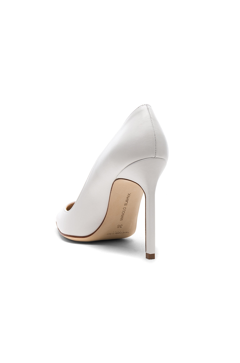 Image 3 of Manolo Blahnik Leather BB 105 Heels in White Leather