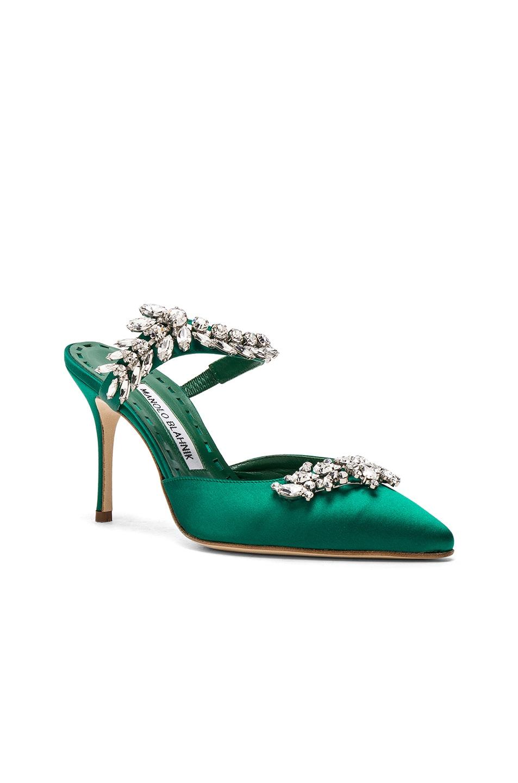 Image 2 of Manolo Blahnik Satin Lurum 90 Heels in Emerald Green Satin