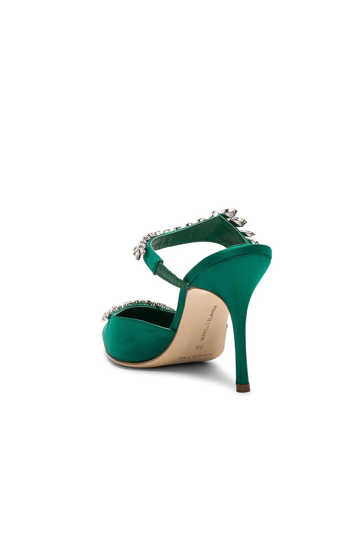 Image 3 of Manolo Blahnik Satin Lurum 90 Heels in Emerald Green Satin