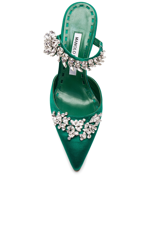 Image 4 of Manolo Blahnik Satin Lurum 90 Heels in Emerald Green Satin
