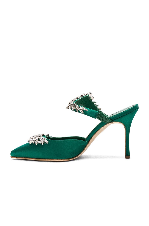 Image 5 of Manolo Blahnik Satin Lurum 90 Heels in Emerald Green Satin