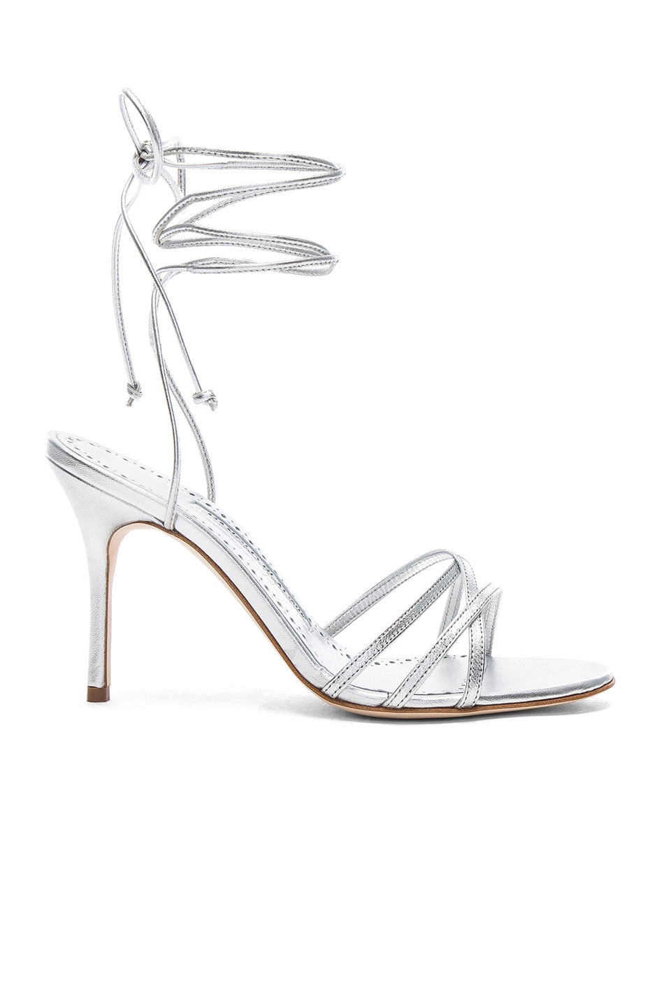 c9543caa7a3 Image 1 of Manolo Blahnik Leather Leva 90 Sandals in Silver Leather