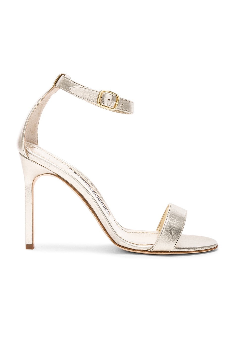 Image 1 of Manolo Blahnik Leather Chaos 105 Heels in Light Gold Leather