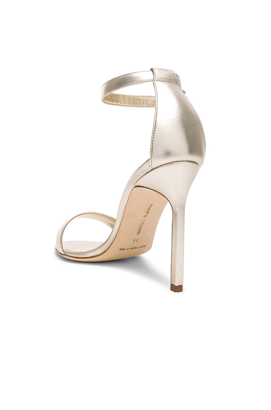 Image 3 of Manolo Blahnik Leather Chaos 105 Heels in Light Gold Leather