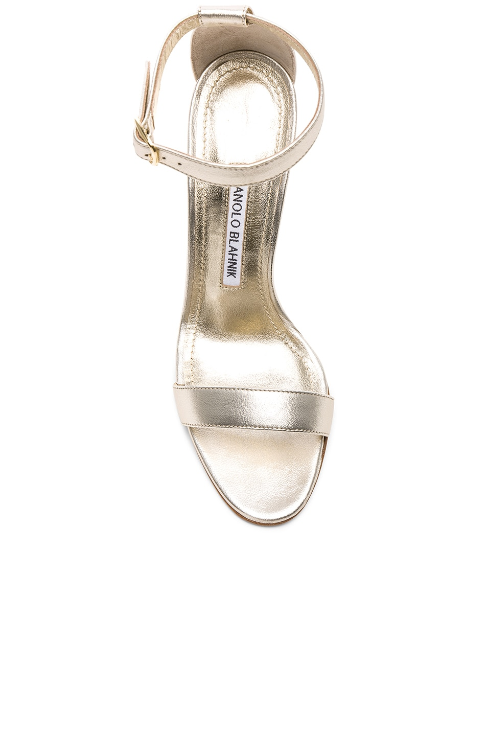Image 4 of Manolo Blahnik Leather Chaos 105 Heels in Light Gold Leather