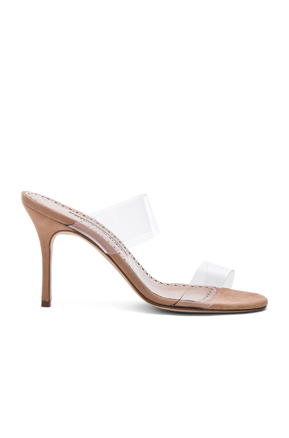 Image 1 of Manolo Blahnik PVC Scolto Sandals in Nude Suede