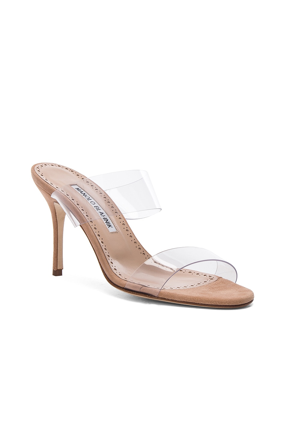 Image 2 of Manolo Blahnik PVC Scolto Sandals in Nude Suede