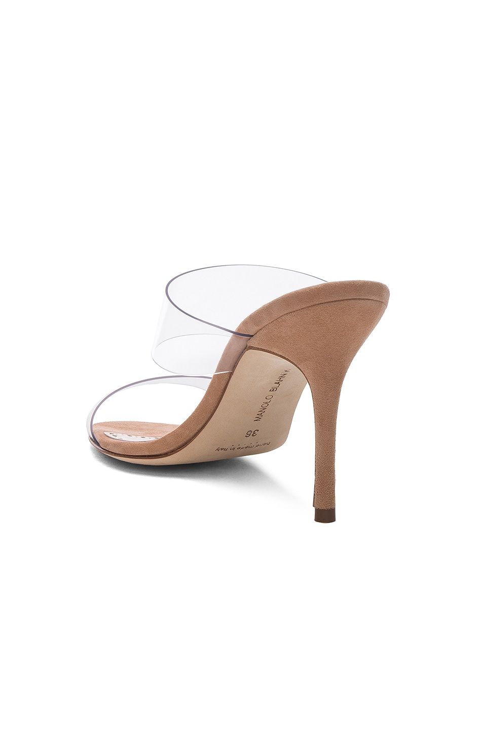 Image 3 of Manolo Blahnik PVC Scolto Sandals in Nude Suede