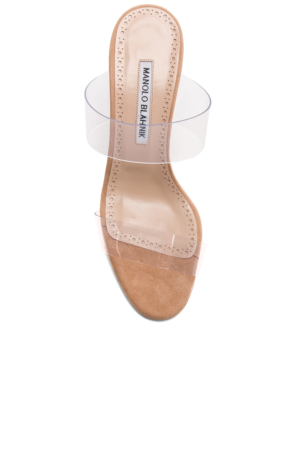 Image 4 of Manolo Blahnik PVC Scolto Sandals in Nude Suede