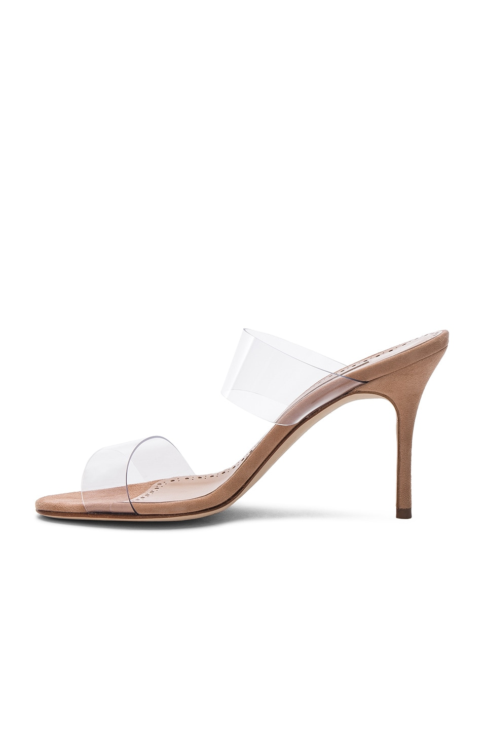 Image 5 of Manolo Blahnik PVC Scolto Sandals in Nude Suede