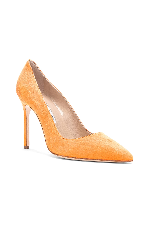 Image 2 of Manolo Blahnik Suede BB 105 Heels in Neon Orange Suede