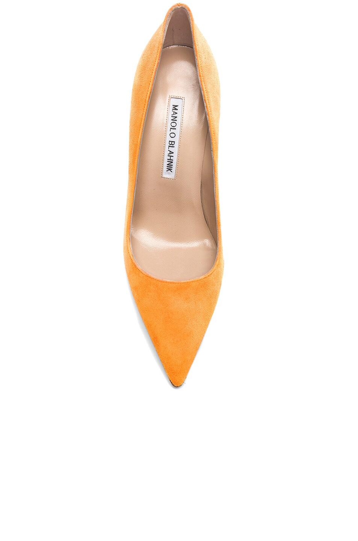 Image 4 of Manolo Blahnik Suede BB 105 Heels in Neon Orange Suede