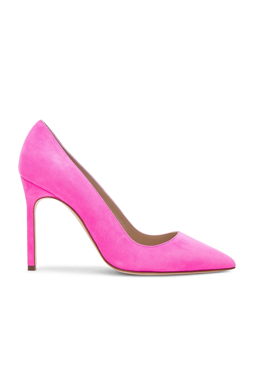 Image 1 of Manolo Blahnik Suede BB 105 Heels in Neon Pink Suede