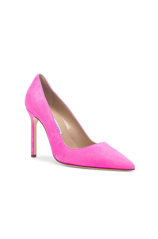 Image 2 of Manolo Blahnik Suede BB 105 Heels in Neon Pink Suede